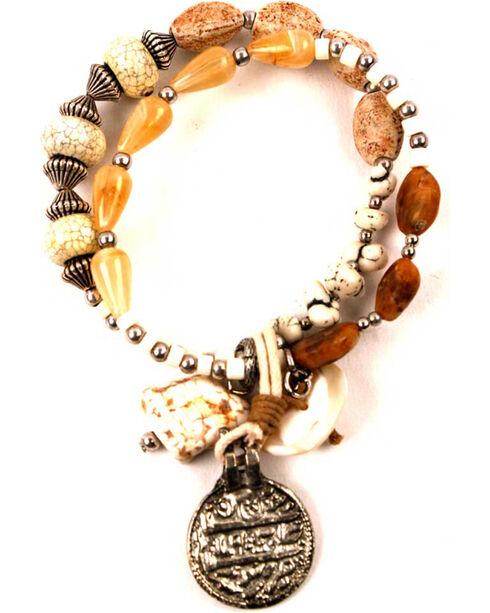 Treska Women's Double Strand Bracelet with Fob, Tan, hi-res