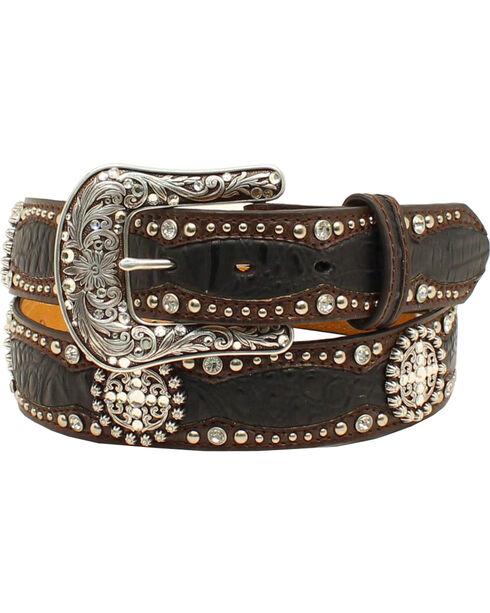 Ariat Women's Western Scalloped Gator Print Belt, Black, hi-res