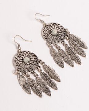 Shyanne Women's Jade Sea Dream Catcher Earrings, Silver, hi-res