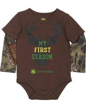 John Deere Infant Boys' Brown My First Season Onesie , Brown, hi-res