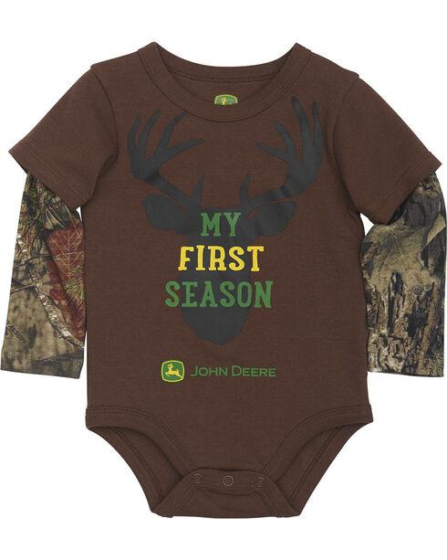 John Deere Infant Boys' Brown My First Season Onesie , Brown, hi-res