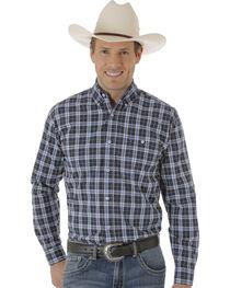 Wrangler Men's Navy & White One Pocket Plaid Western Shirt , , hi-res