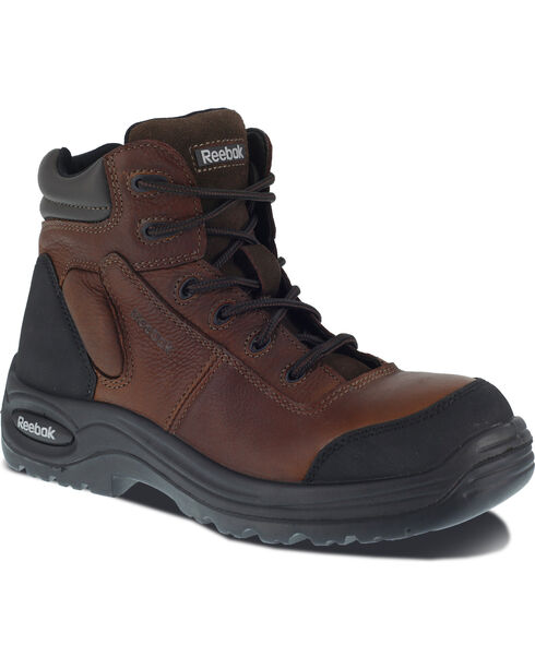 """Reebok Men's Trainex 6"""" Lace-Up Waterproof Work Boots - Composition Toe, Brown, hi-res"""