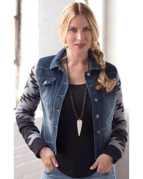 Ryan Michael Women's Denim & Sweater Jacket, Grey, hi-res
