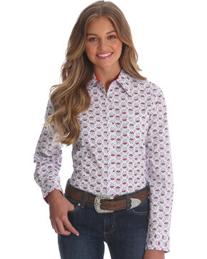 Wrangler Women's Red George Strait Floral Print Shirt , Red, hi-res