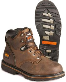 "Timberland Men's Brown Pit Boss 6"" Work Boots - Steel Toe , , hi-res"