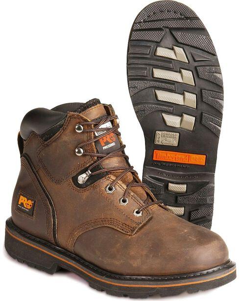 "Timberland Men's Brown Pit Boss 6"" Work Boots - Steel Toe , Brown, hi-res"