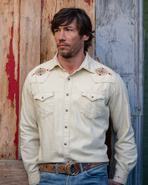 Ryan Michael Men's Sand Washed Embroidered Shirt , , hi-res