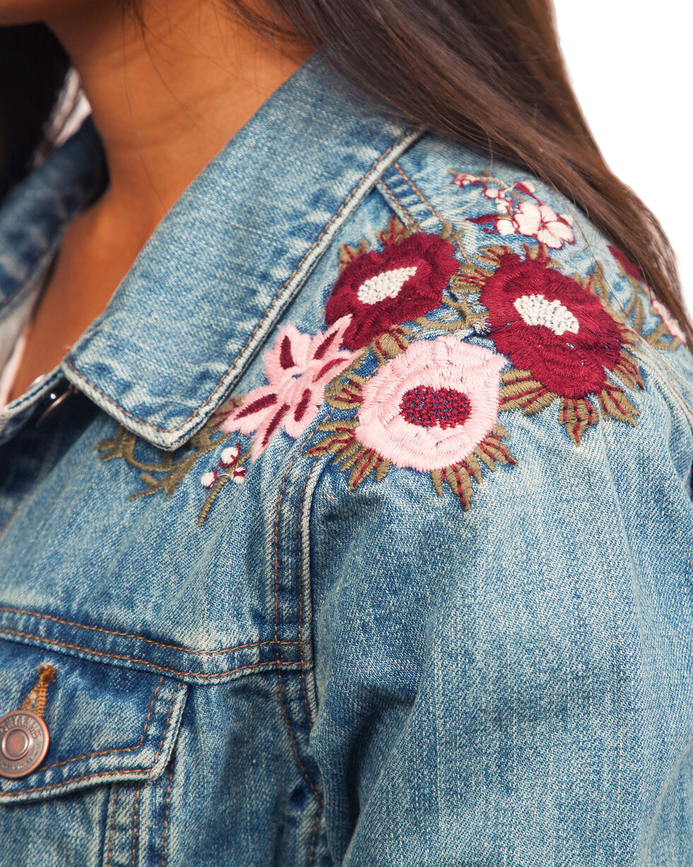 Shyanne Women's Floral Embroidered Denim Jacket, , hi-res