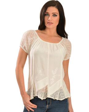 Scully Women's Short Sleeve Peasant Blouse, Ivory, hi-res
