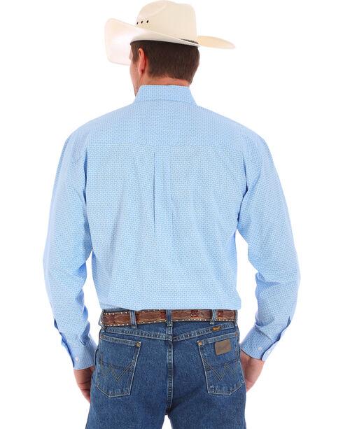Wrangler Men's George Strait Pattern Long Sleeve Shirt, Blue, hi-res