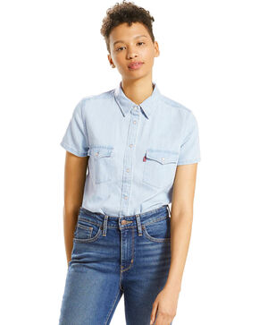 Levi's Women's Frances Blue Short Sleeve Western Shirt  , Blue, hi-res