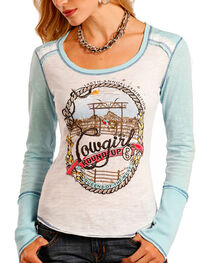 Panhandle Women's Cowgirl Roundup Long Sleeve Knit Tee, , hi-res