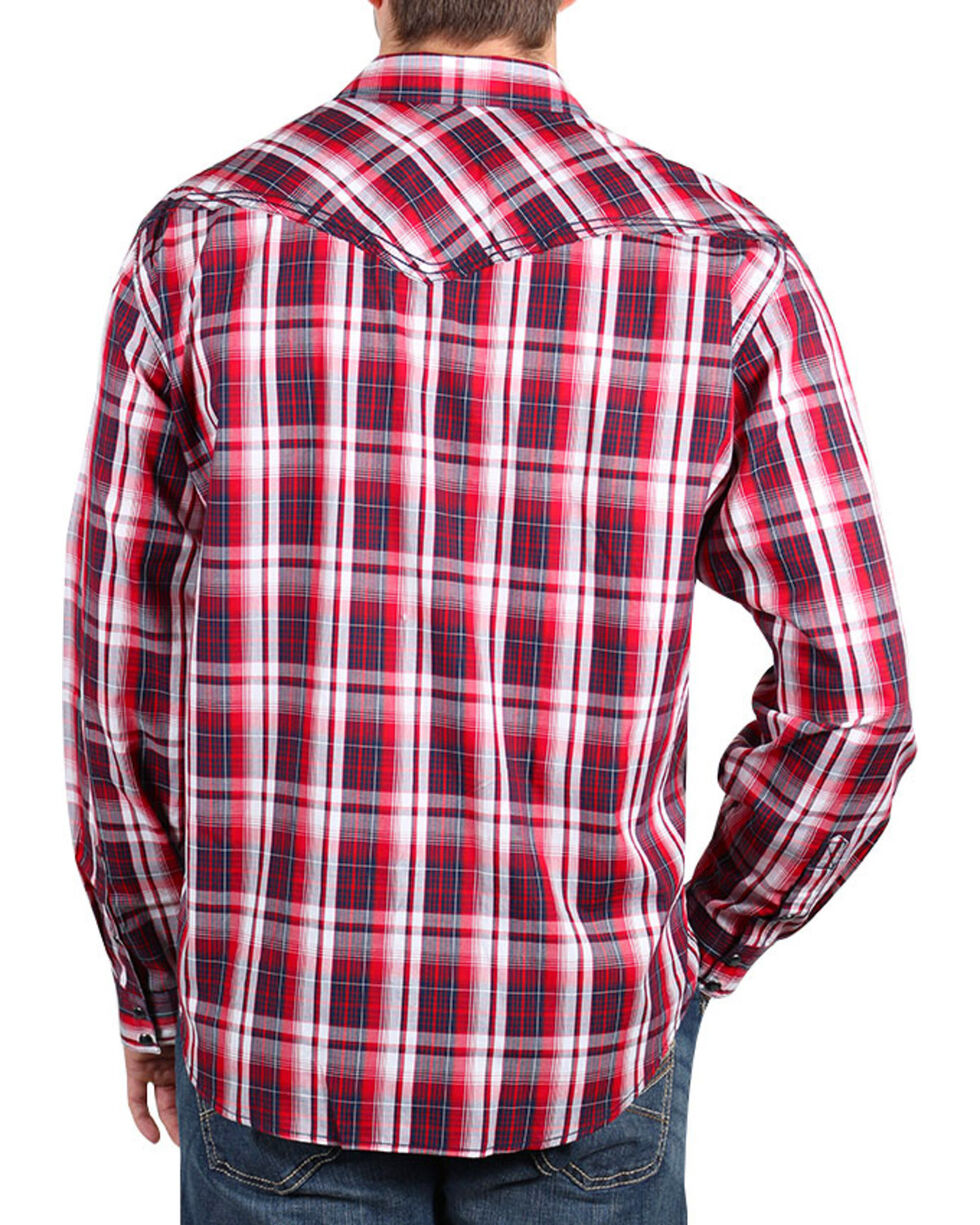 Cody James® Men's Americana Plaid Long Sleeve Shirt , Red, hi-res