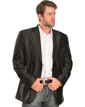 China Leather Men's Western Blazer, Black, hi-res