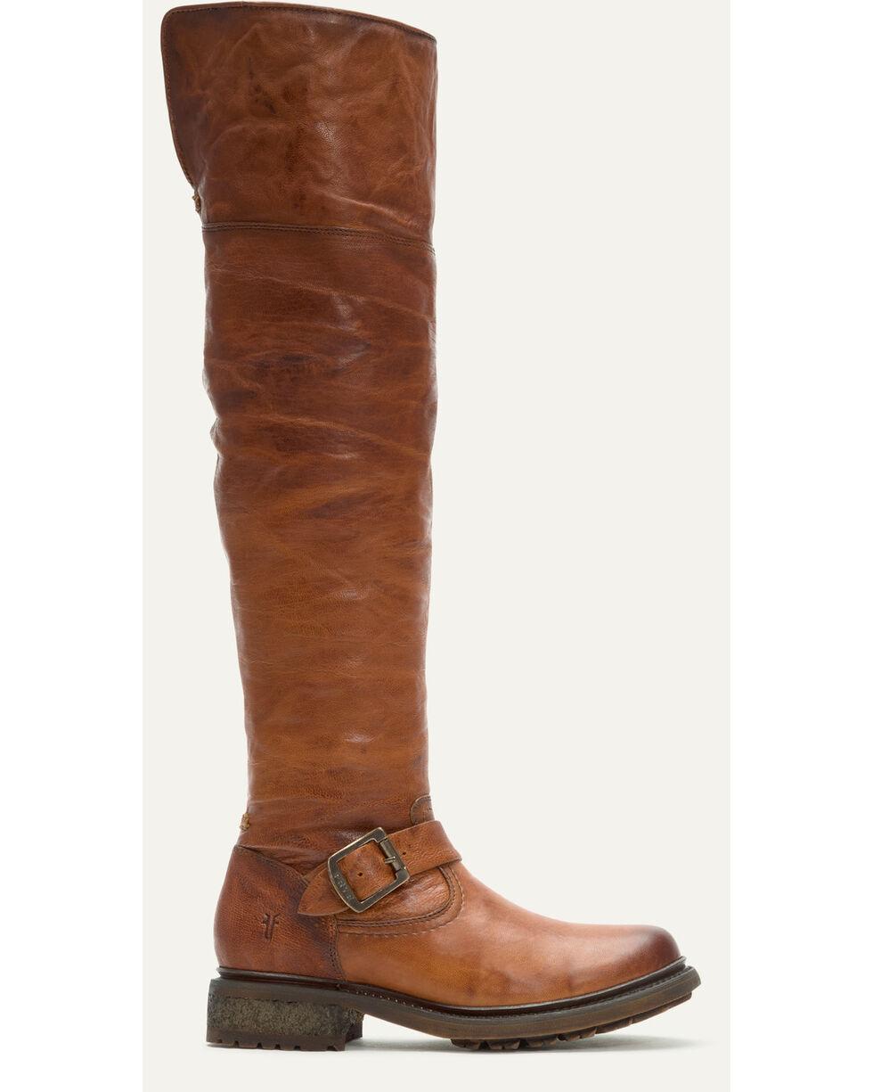 Frye Women's Cognac Valerie OTK Shearling Tall Boots - Round Toe , Cognac, hi-res