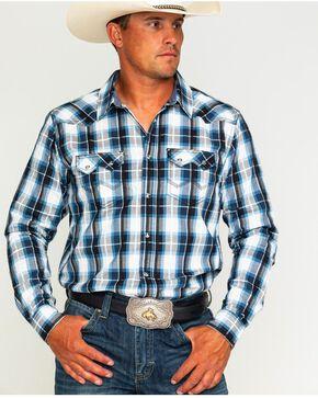 Cody James Men's Colton Black and Blue Plaid Shirt, White, hi-res