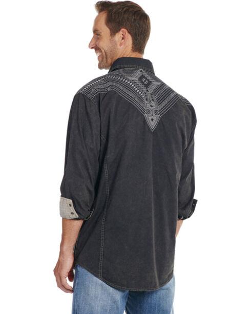 Cowboy Up Men's Black Embroidered Yoke Solid Shirt, Black, hi-res