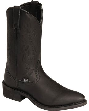 Justin Men's Ranch & Road Western Boots, Black, hi-res