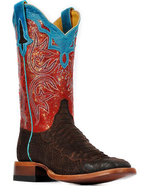 Cinch Women's Champion Python Exotic Boots, Chocolate, hi-res