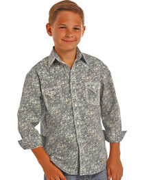 Rock & Roll Cowboy Boys' Blue Poplin Paisley Print Shirt , , hi-res