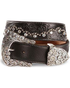 Tony Lama Women's Kaitlyn Crystal Western Belt, Black, hi-res