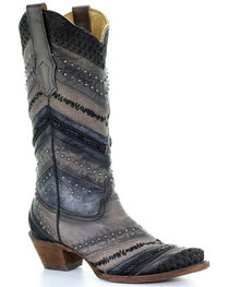 Corral Women's Embroidery and Stud Accent Boots - Snip Toe , , hi-res