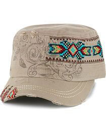Savana Women's Embroidered Military Hat, , hi-res