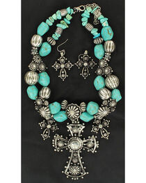 Blazin Roxx Three Cross and Turquoise Stone Beaded Necklace & Earrings Set, , hi-res