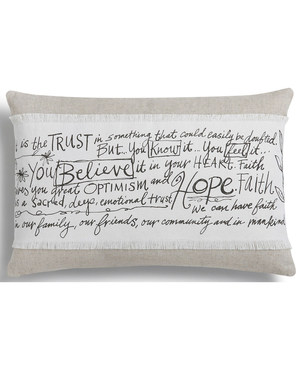 Demdaco Poetic Threads Believe Hope Faith Throw Pillow , White, hi-res