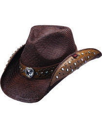 Peter Grimm Bela Heart and Stud Embellished Dark Brown Panama Straw Cowgirl Hat, , hi-res