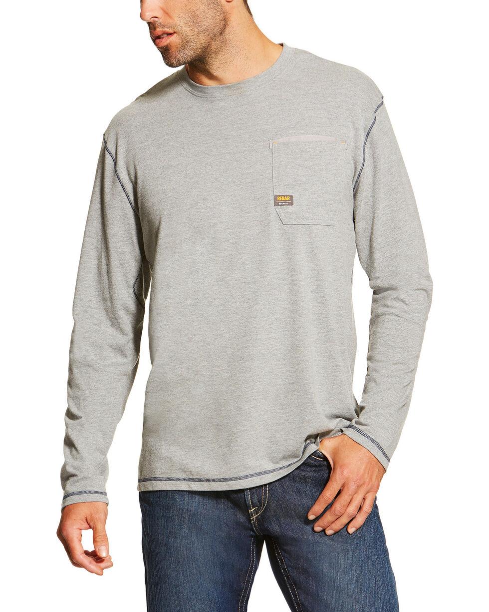 Ariat Men's Grey Rebar Crew Long Sleeve Pocket Tee - Big, Grey, hi-res