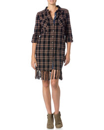 Miss Me Plaid Fringe Dress, , hi-res