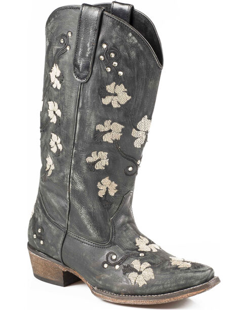 Roper Women's Embroidered Flower Power Western Boots, Black, hi-res