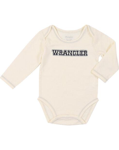 Wrangler Infant Boys' Long Sleeve Logo Bodysuit Onsie, Natural, hi-res