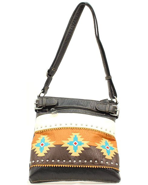Blazin Roxx Southwest Embroidered Crossbody Bag, Black, hi-res