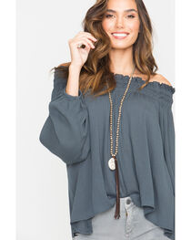 Miss Me Women's Embroidered Off-The-Shoulder Long Sleeve Top, , hi-res