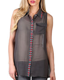 Cowgirl Up Women's Chiffon Embroidered Collar and Placket Sleeveless Shirt, , hi-res