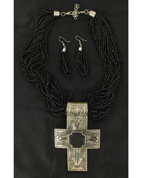 Blazin Roxx Cross Pendant Beaded Necklace & Earrings Set, , hi-res