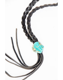 Jewelry Junkie Women's Braided Leather Lasso Necklace with Turquoise Slab, , hi-res