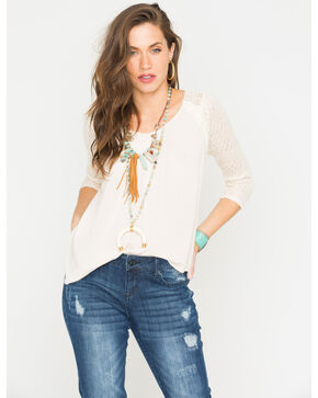 Miss Me Cream Cross Back 3/4 Sleeve Top , Cream, hi-res