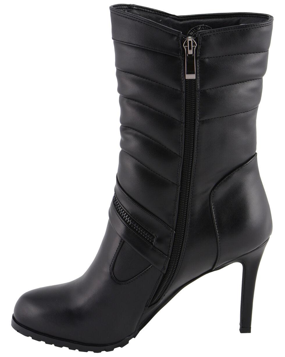 Milwaukee Leather Women's Zipper Accent High Heel Boots - Round Toe, Black, hi-res