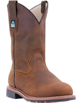 "McRae Men's 11"" Pull On Work Boot - Round Soft Toe, Brown, hi-res"