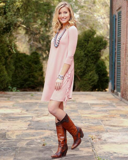 Wrangler Women's Rose Fringe Knit Dress, Mauve, hi-res