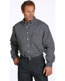 Cinch Men's Flame Resistant Button Down Long Sleeve Shirt, Black, hi-res