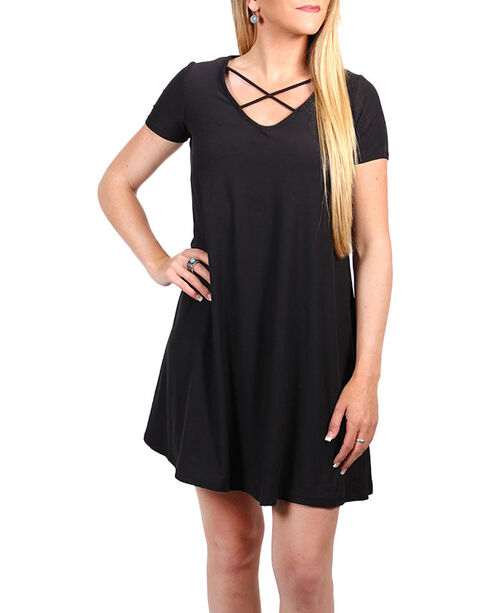 Derek Heart Women's Crisscross Neckline Short Sleeve Dress, Black, hi-res