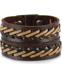 Moonshine Spirit Men's Double Strand Laced Leather Cuff, , hi-res