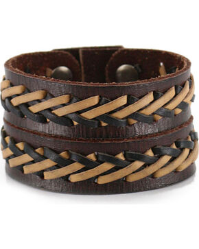 Moonshine Spirit Men's Double Strand Laced Leather Cuff, Brown, hi-res
