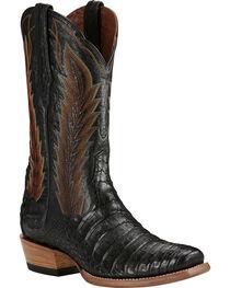 Ariat Black Turnback Caiman Belly Cowboy Boots - Square Toe, , hi-res