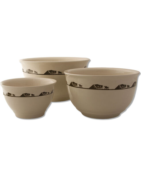 Moss Brothers 3-Piece Running Horses Mixing Bowl Set, Ivory, hi-res